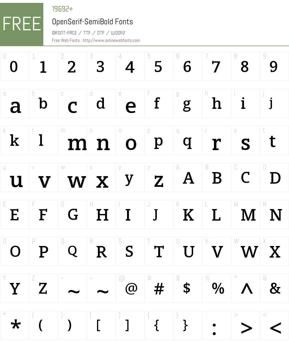 Open Serif Semibold Font Screenshots