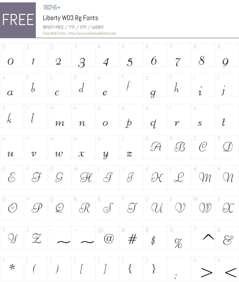 Liberty Font Screenshots