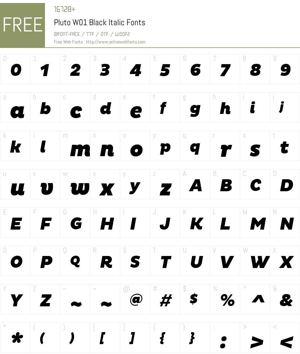 PlutoW01-BlackItalic Font Screenshots