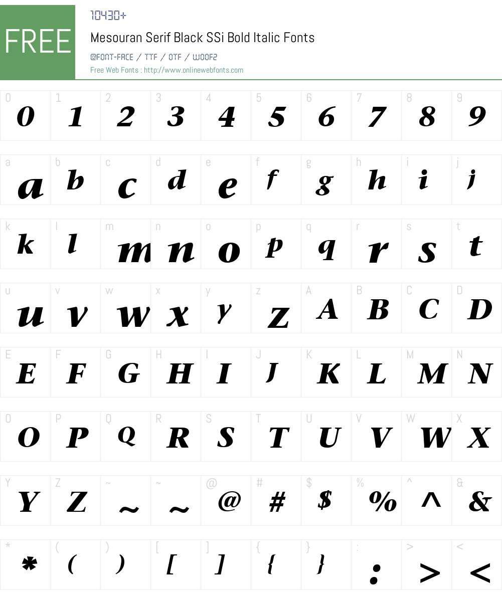 Mesouran Serif Black SSi Font Screenshots