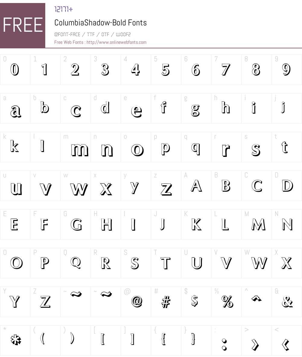 ColumbiaShadow Font Screenshots