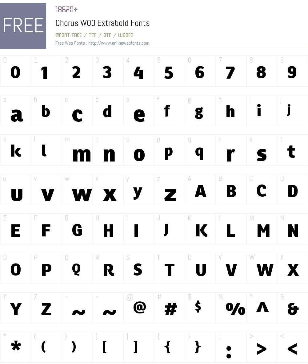 ChorusW00-Extrabold Font Screenshots