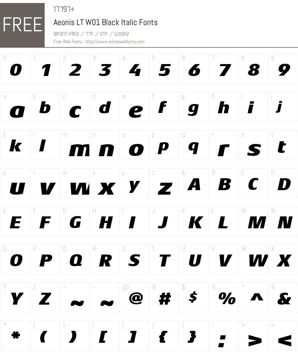 AeonisLTW01-BlackItalic Font Screenshots