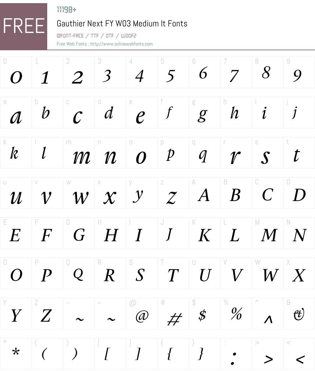 Gauthier Next FY Font Screenshots