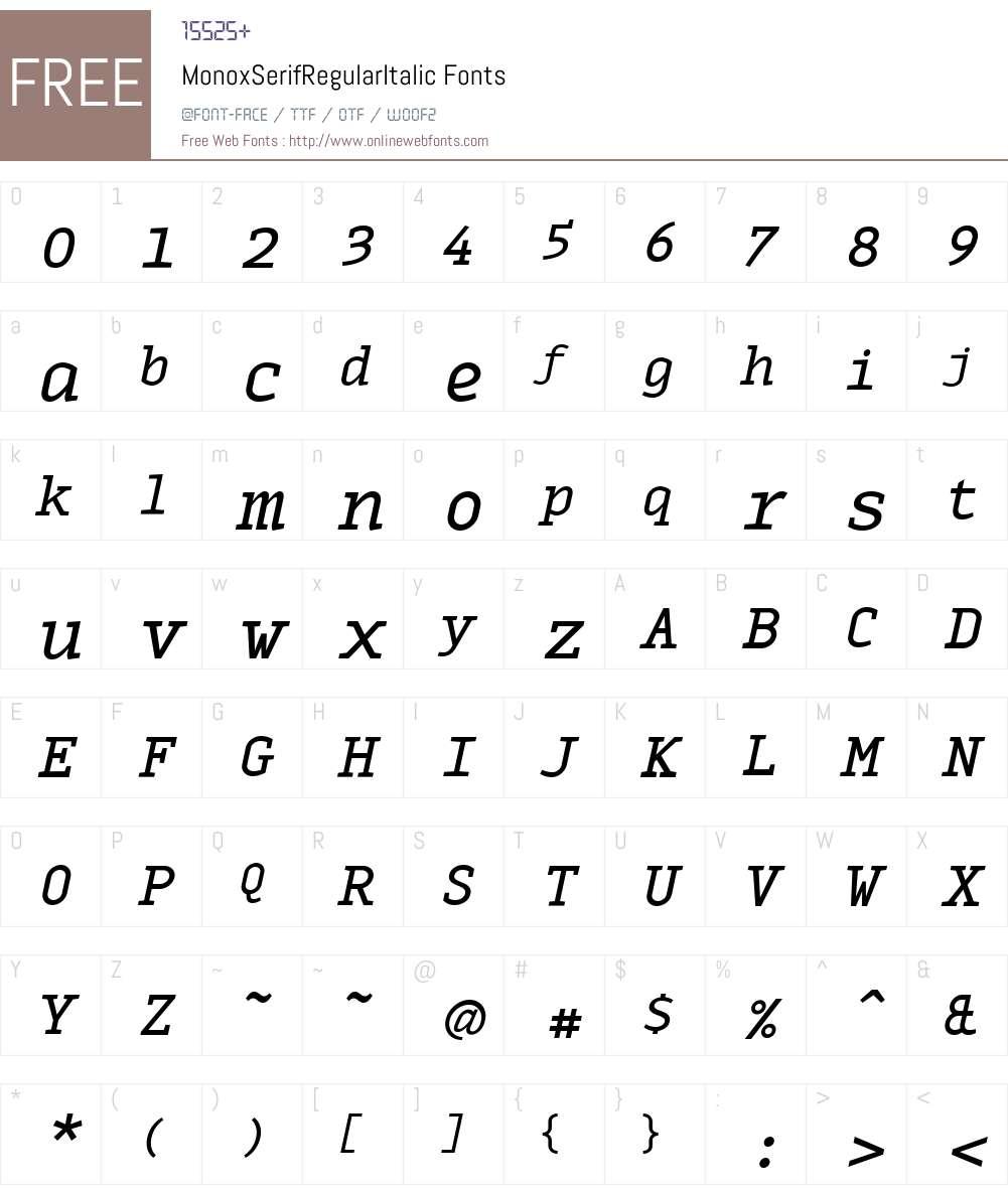 MonoxSerifRegularItalic Font Screenshots