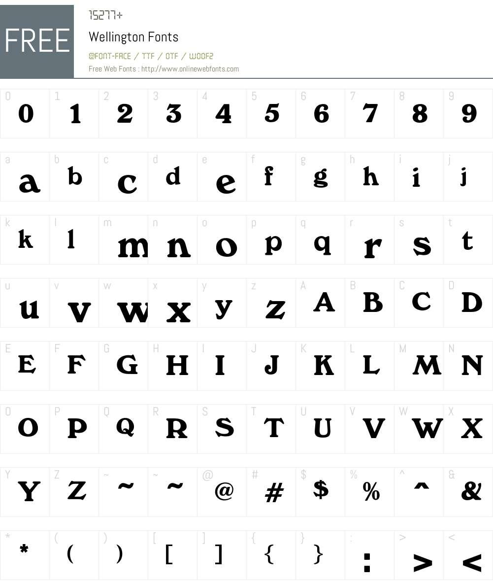 Wellington Font Screenshots