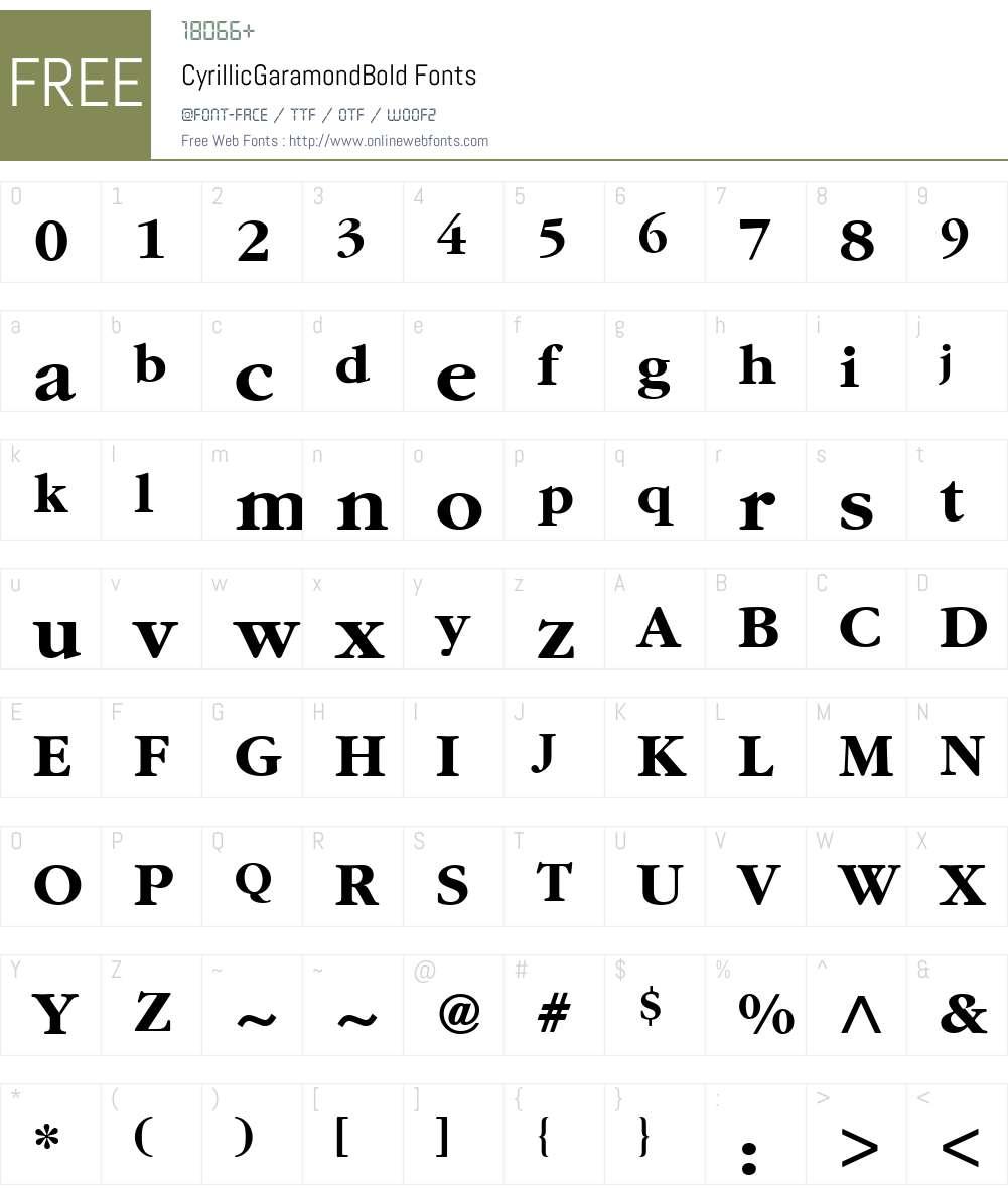 CyrillicGaramond Font Screenshots