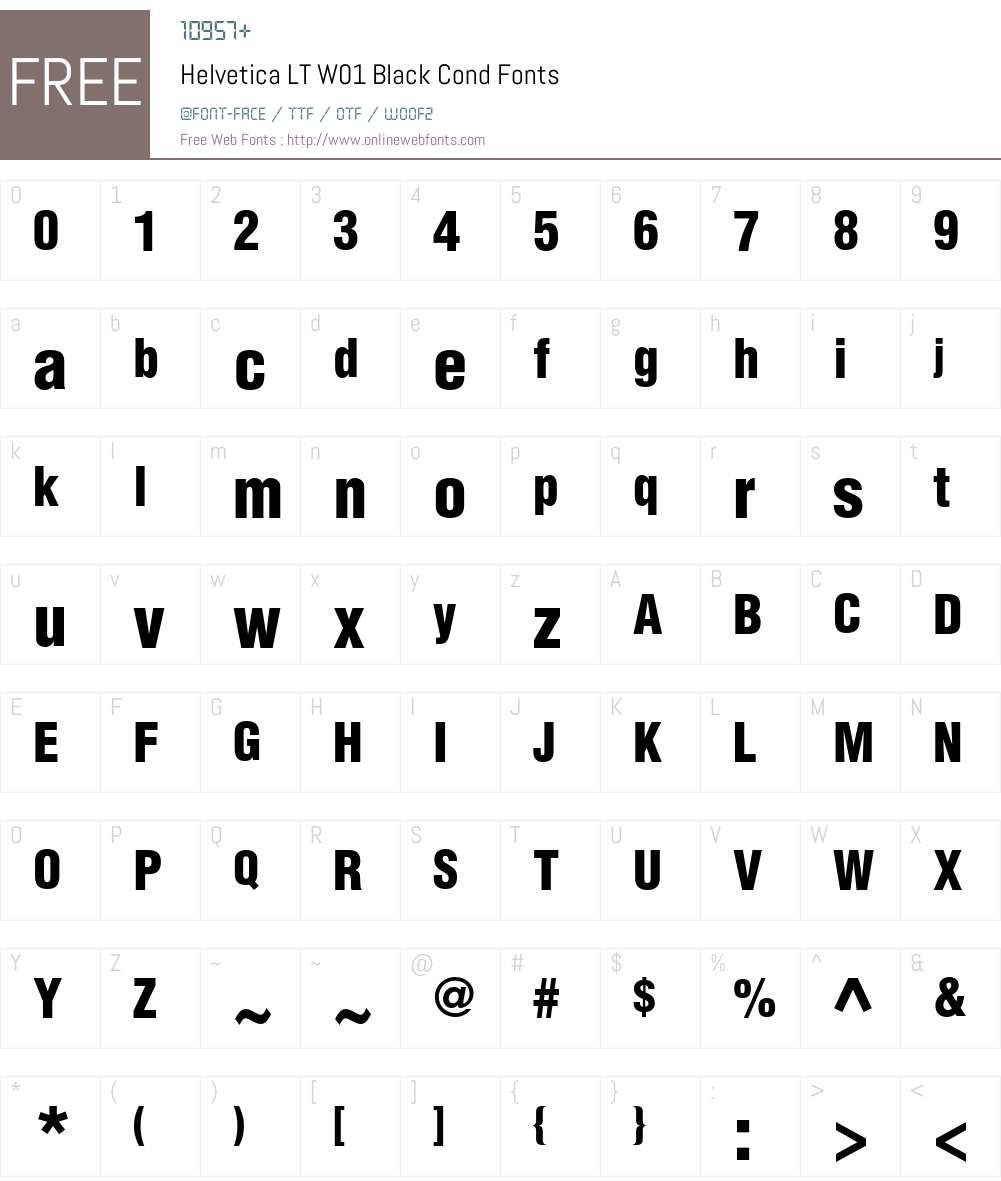 HelveticaLTW01-BlackCond Font Screenshots