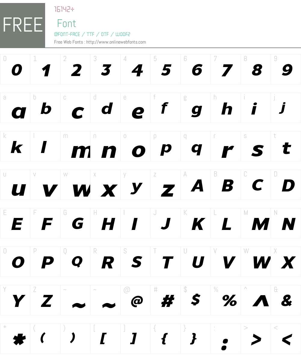 UnimanW00-HeavyItalic Font Screenshots
