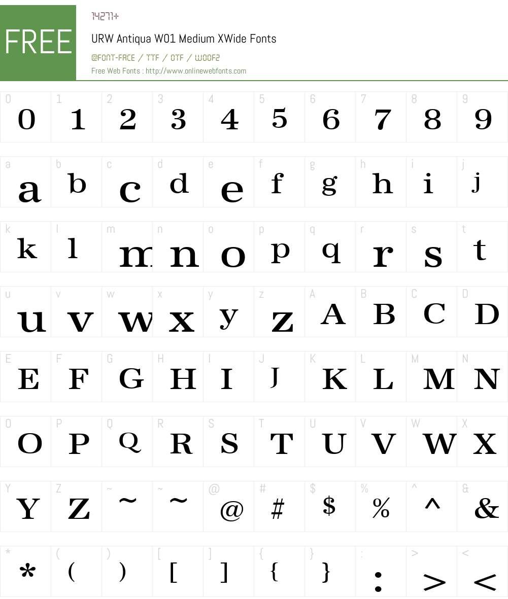 URWAntiquaW01-MediumXWide Font Screenshots