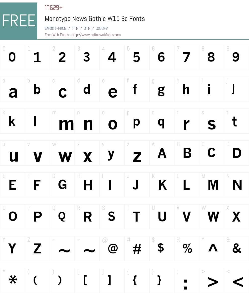 MonotypeNewsGothicW15-Bd Font Screenshots