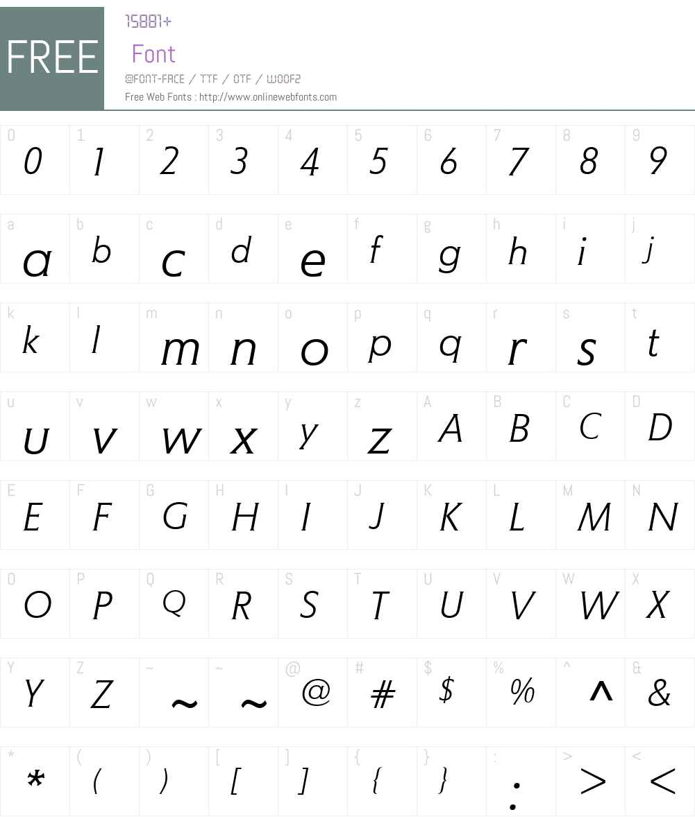 MemoW01-LightItalic Font Screenshots