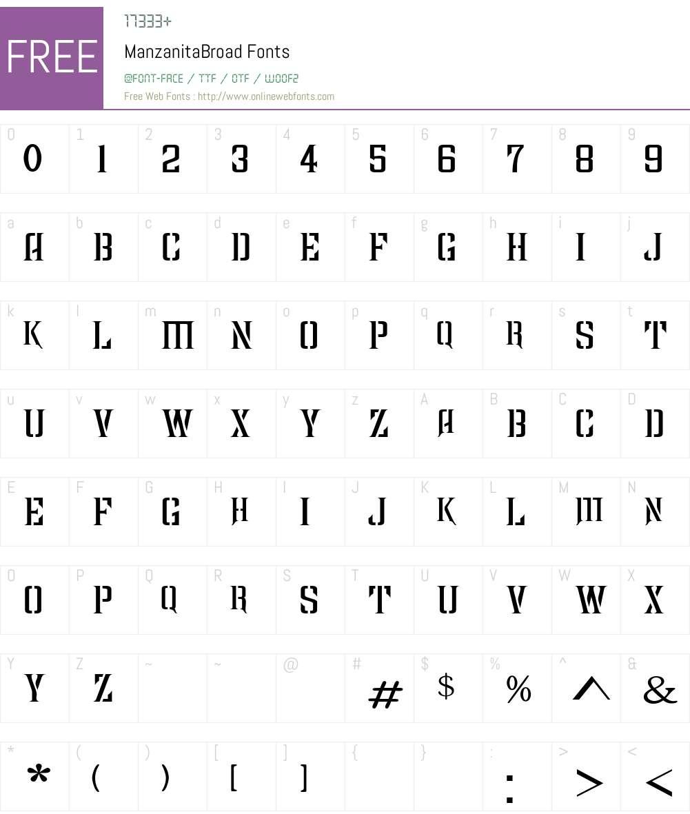 ManzanitaBroad Font Screenshots