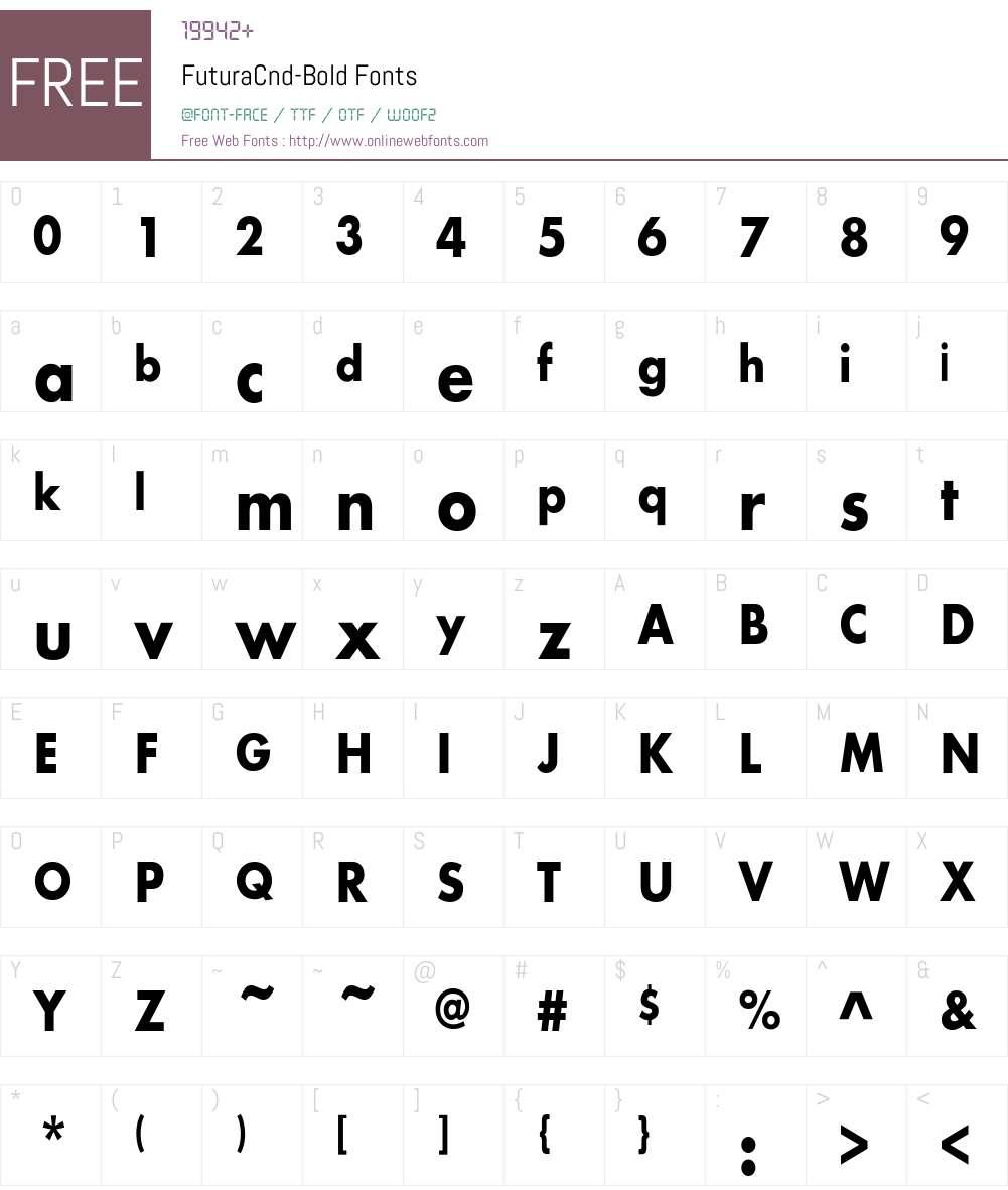FuturaCnd-Bold Font Screenshots