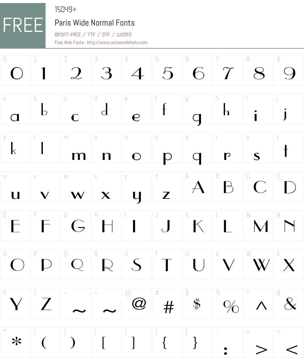 Paris Wide Font Screenshots