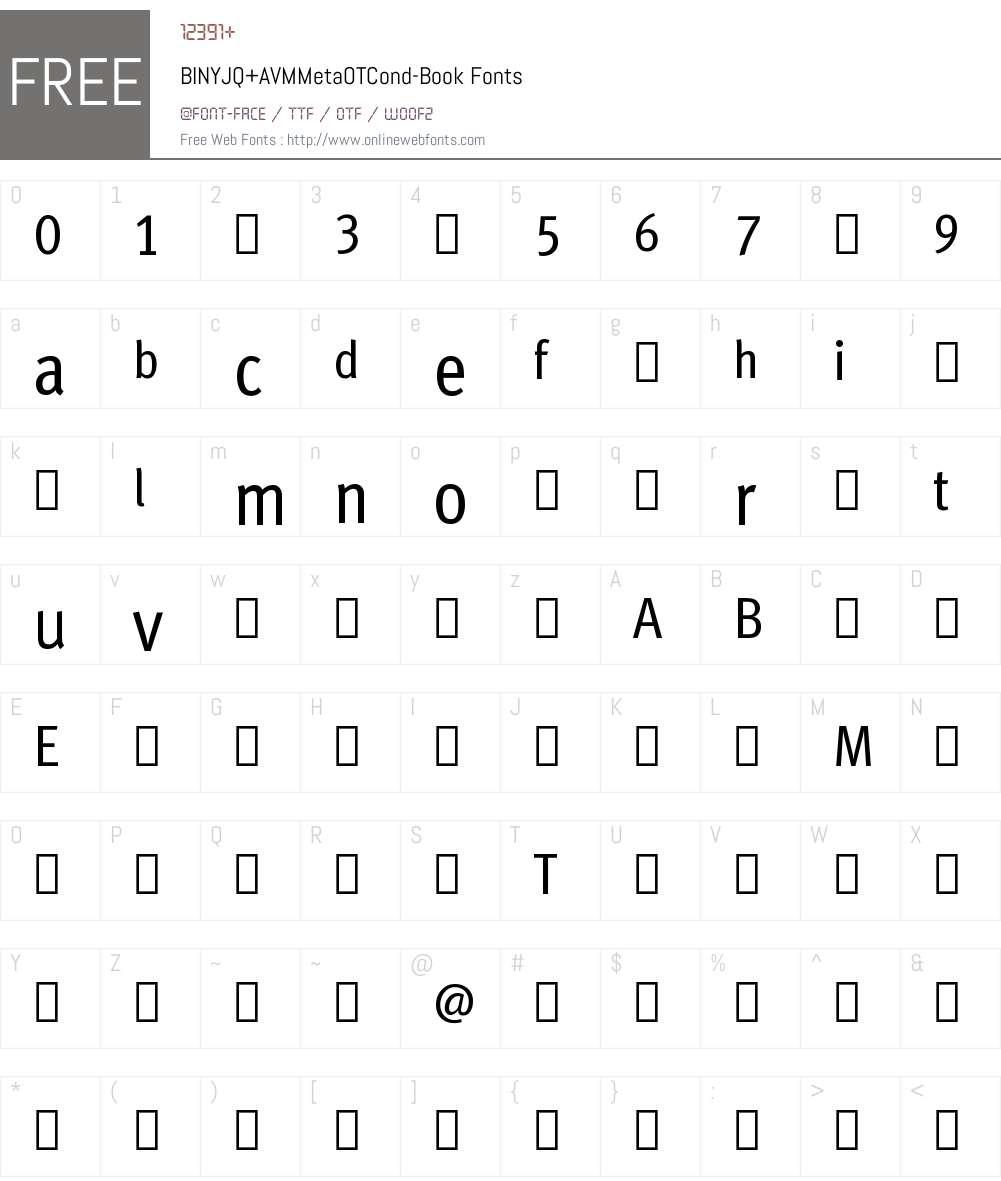 BINYJQ+AVMMetaOTCond-Book Font Screenshots