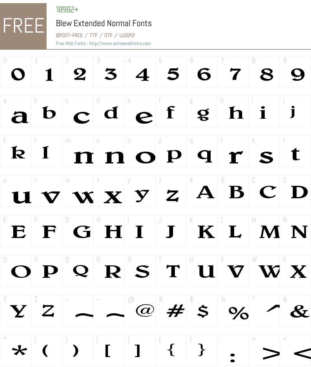 Blew Extended Font Screenshots
