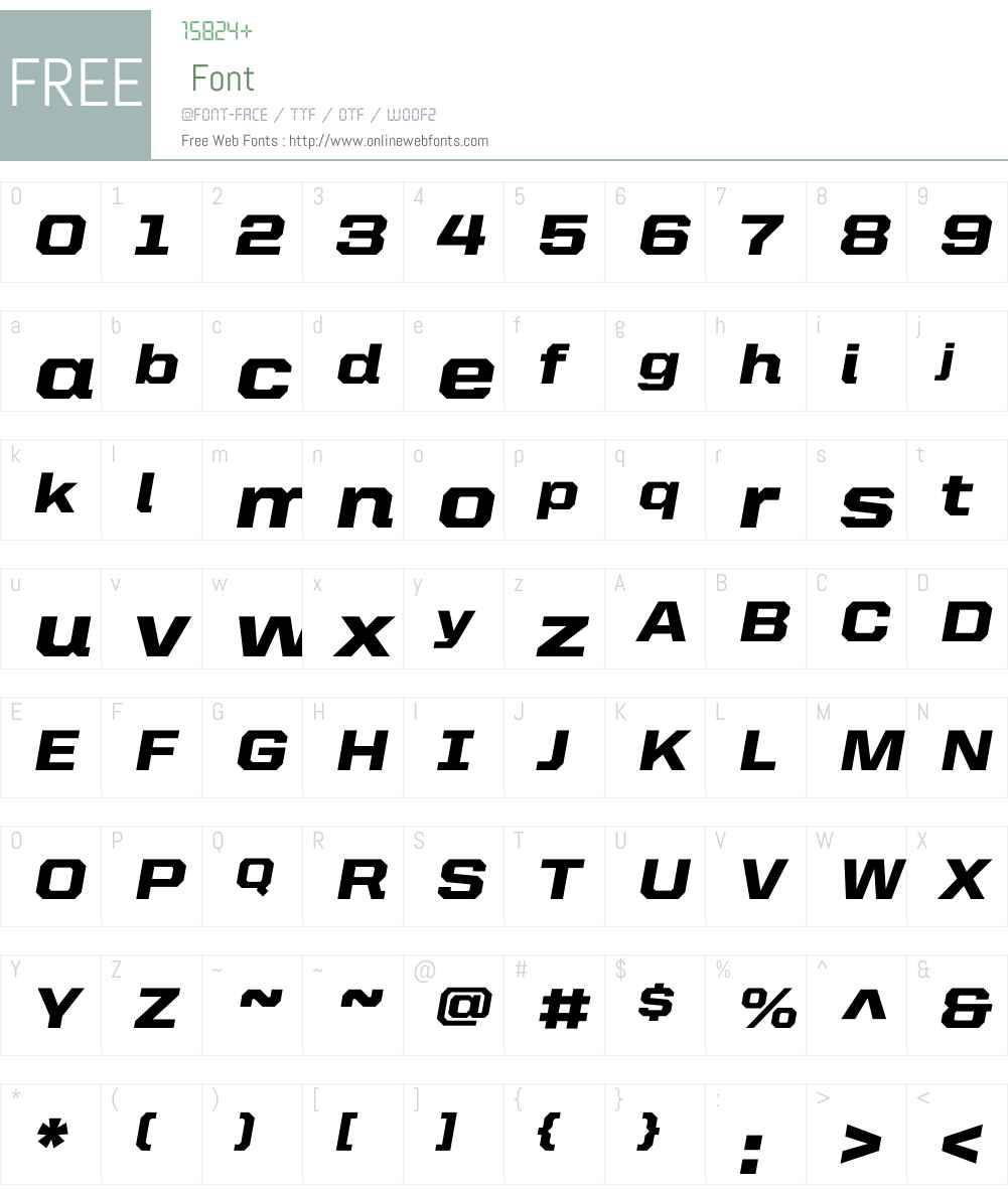 United Italic SemiExt Font Screenshots