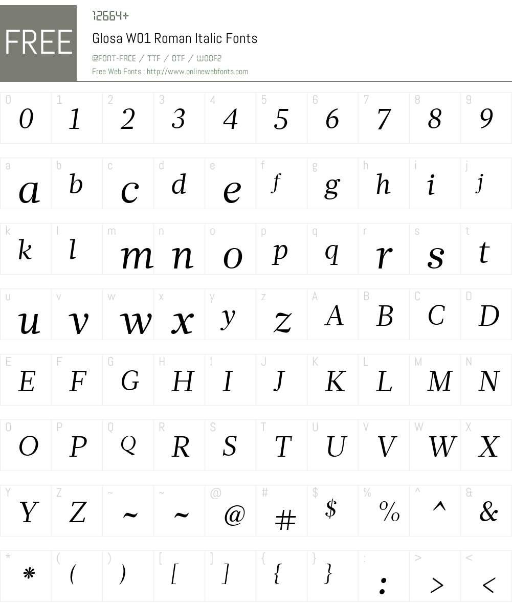 GlosaW01-RomanItalic Font Screenshots