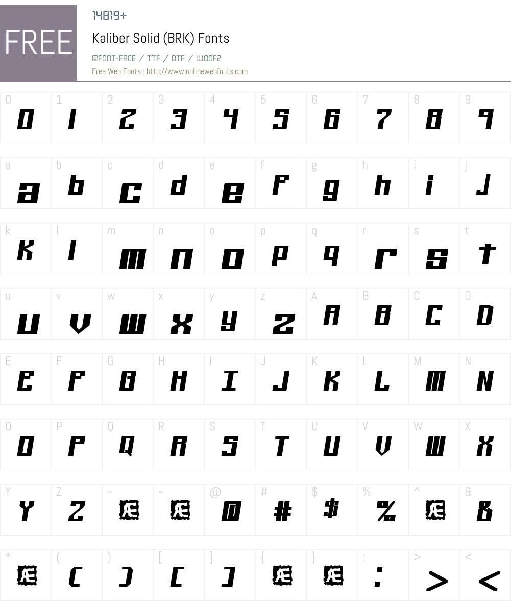 Kaliber Solid (BRK) Font Screenshots