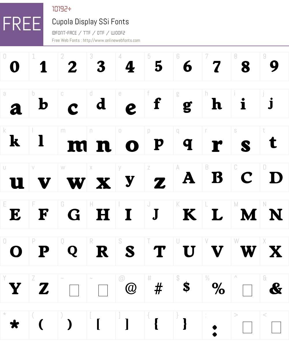 Cupola Display SSi Font Screenshots