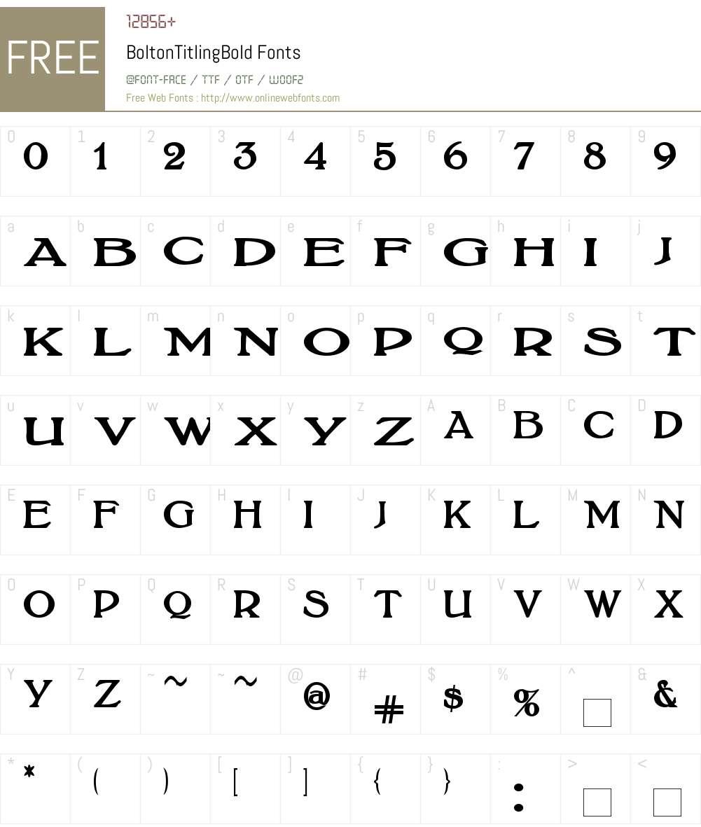BoltonTitlingBold Font Screenshots