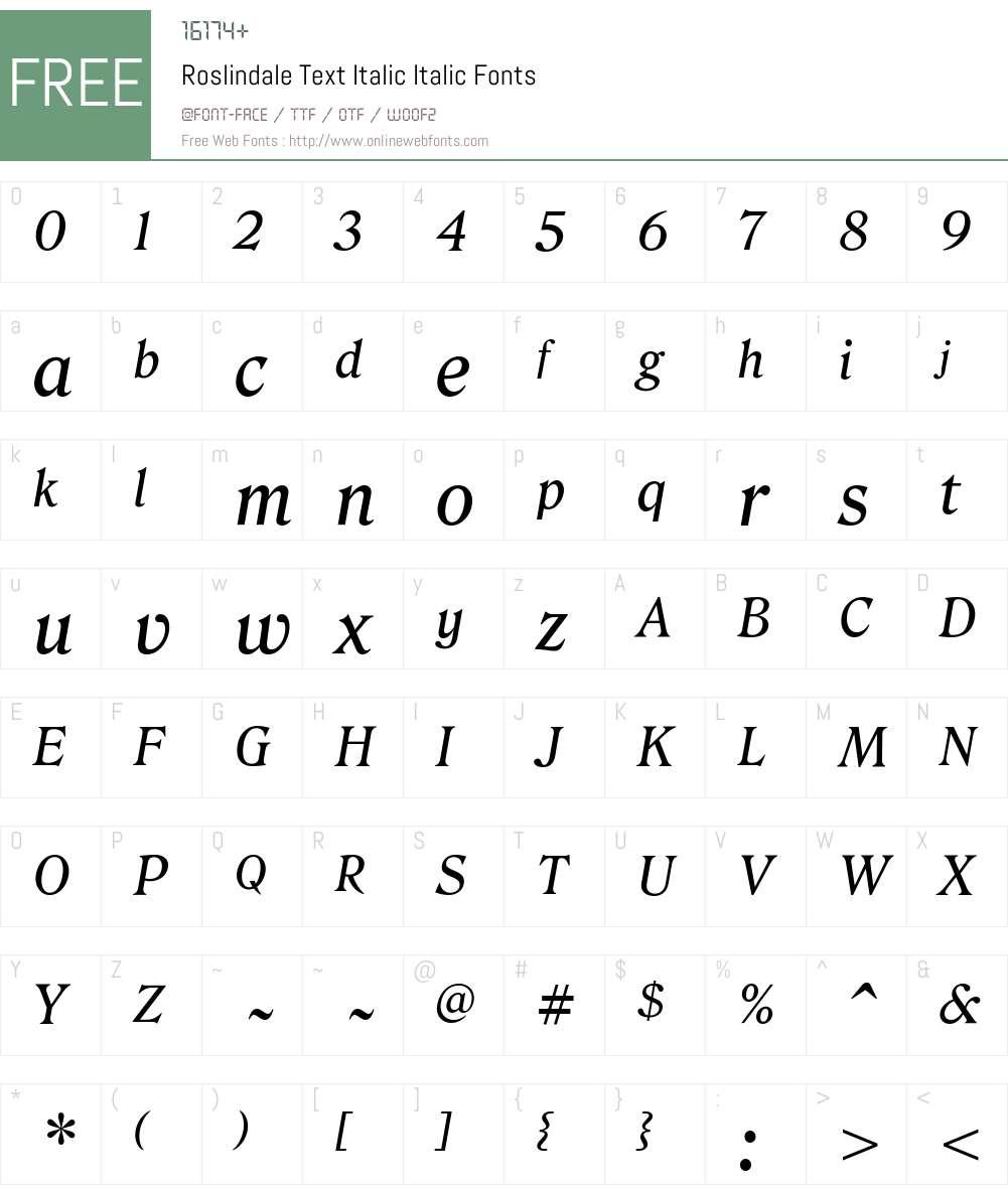 Roslindale Text Italic Font Screenshots