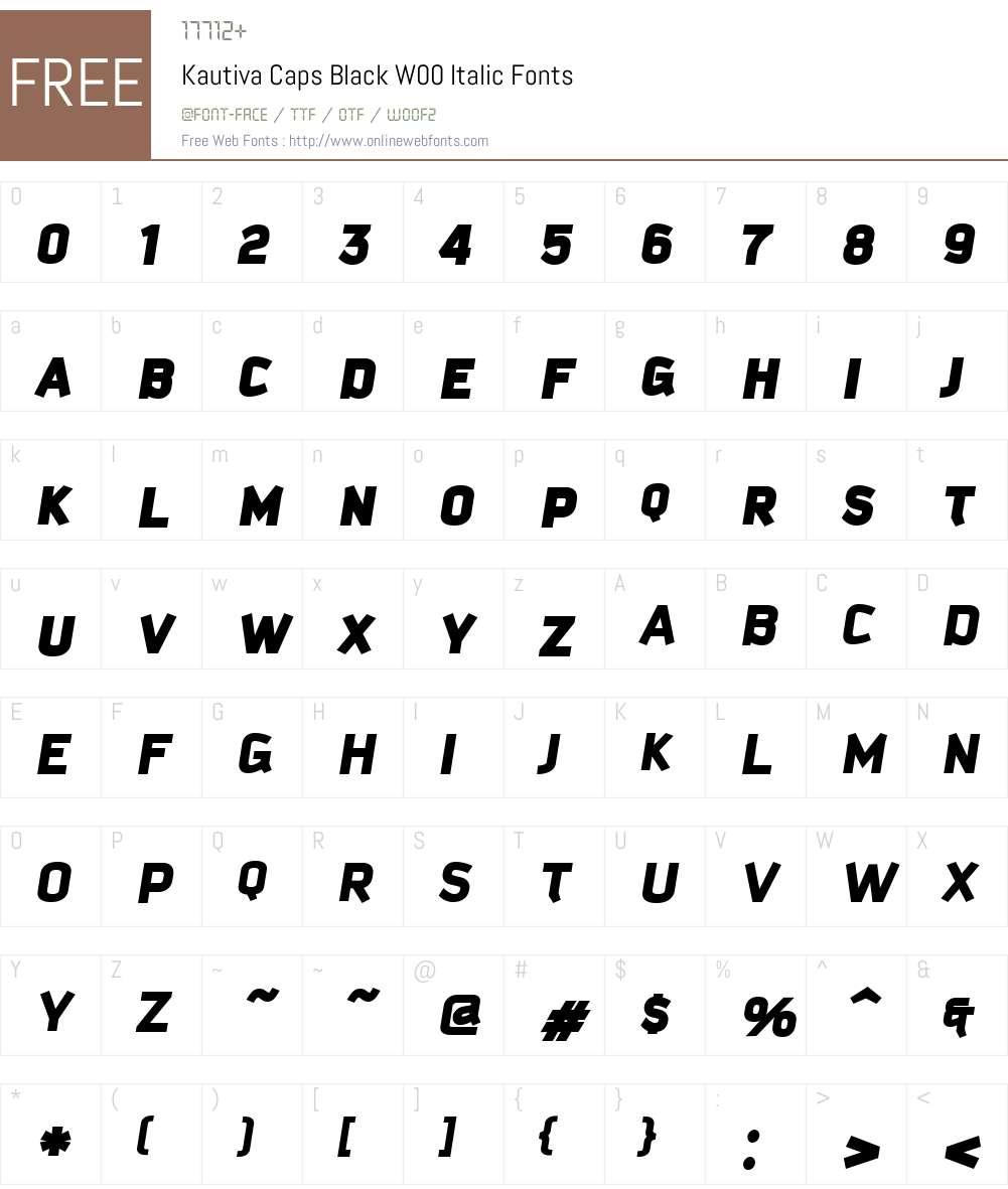 KautivaCapsBlackW00-Italic Font Screenshots