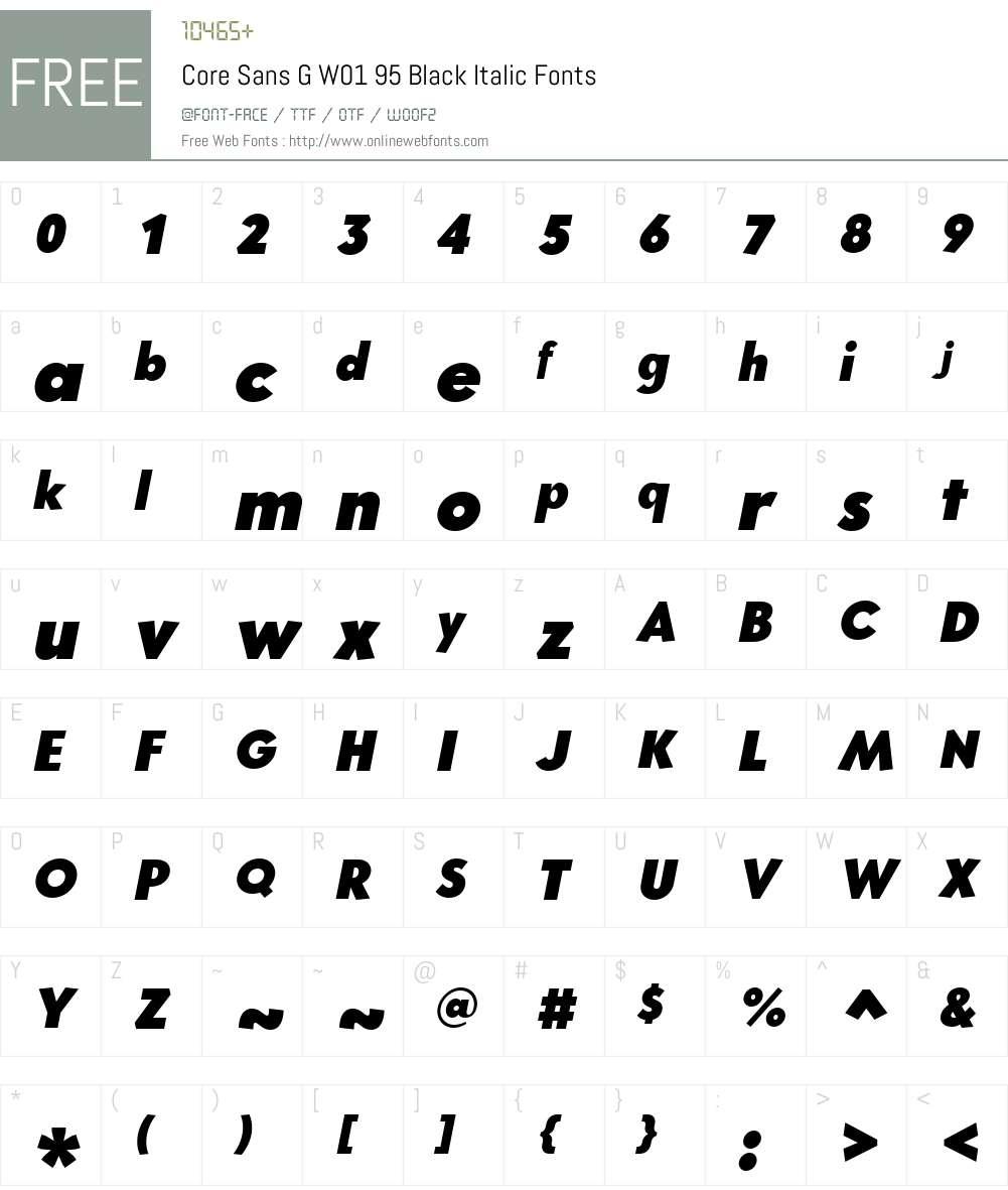 CoreSansGW01-95BlackItalic Font Screenshots