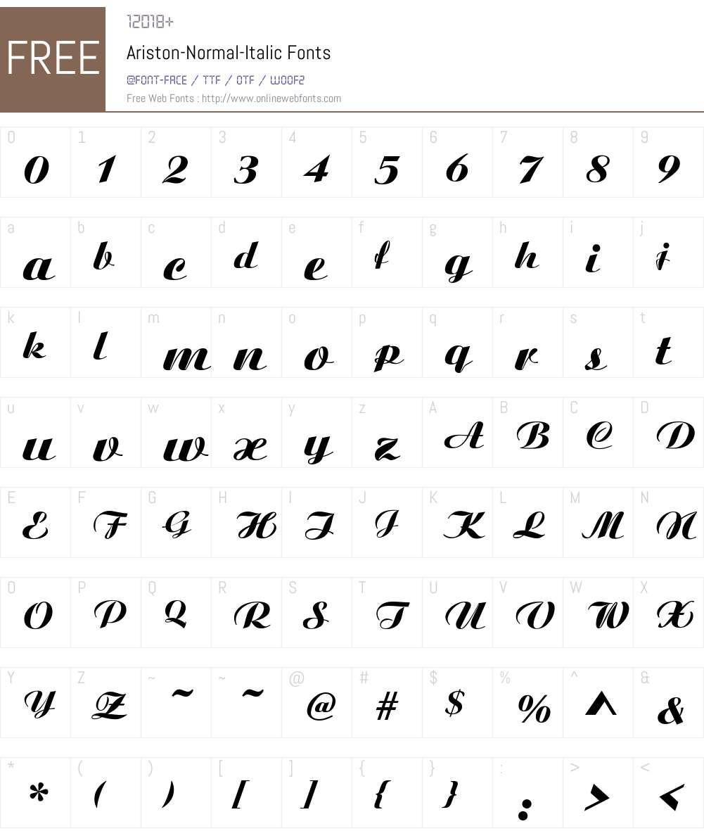 Ariston-Normal-Italic Font Screenshots