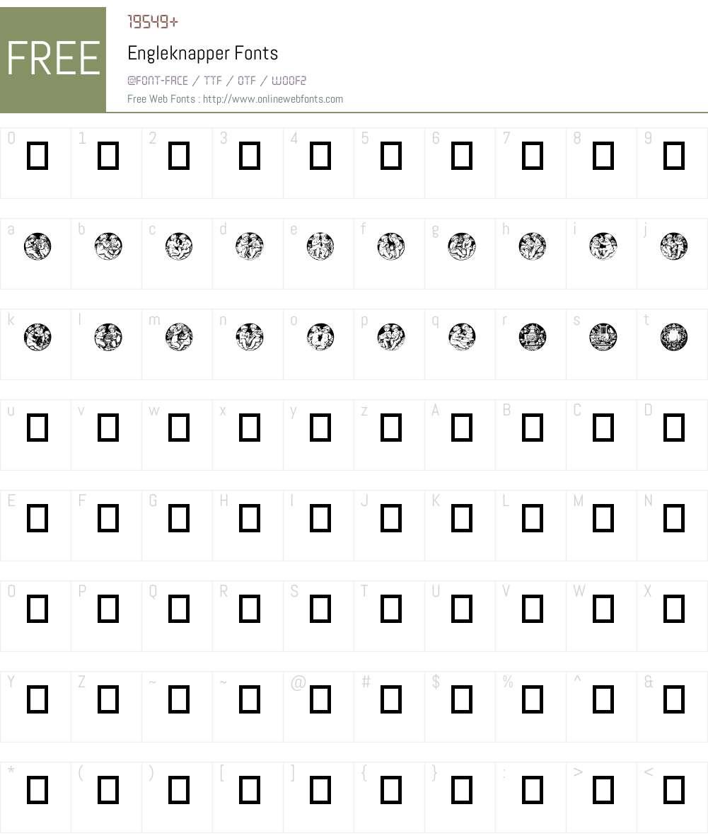 Engleknapper Font Screenshots