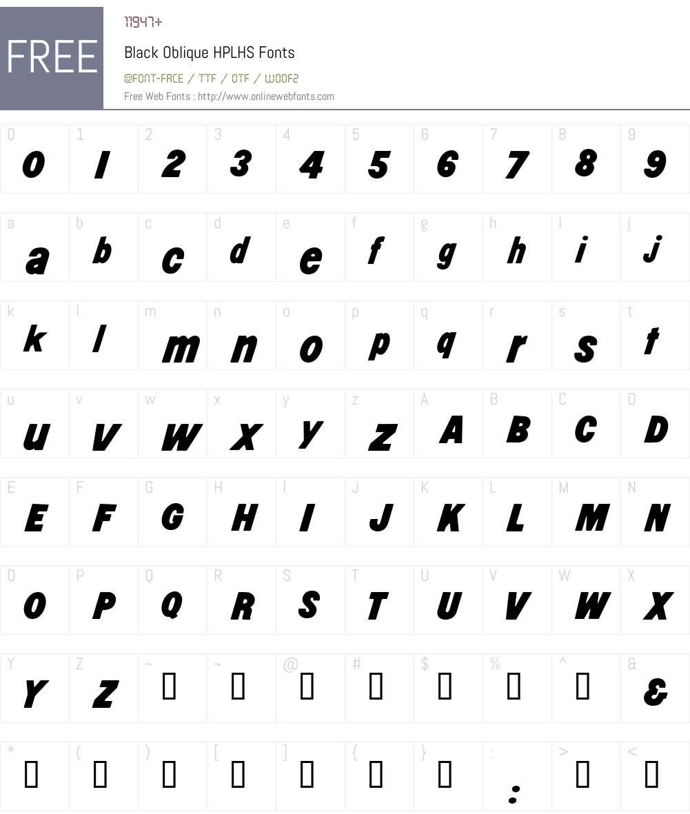 Black Oblique Font Screenshots