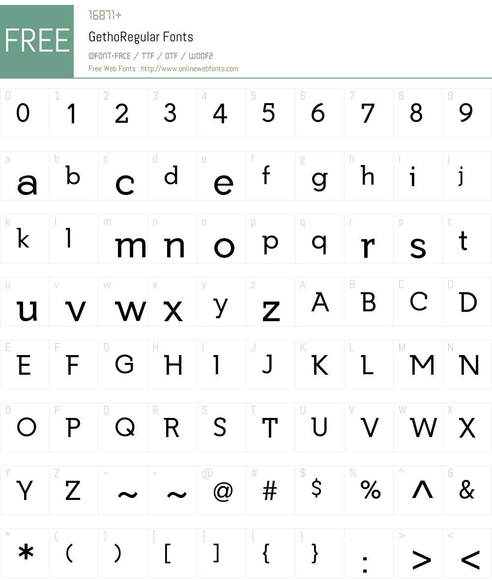 Getho Regular Font Screenshots