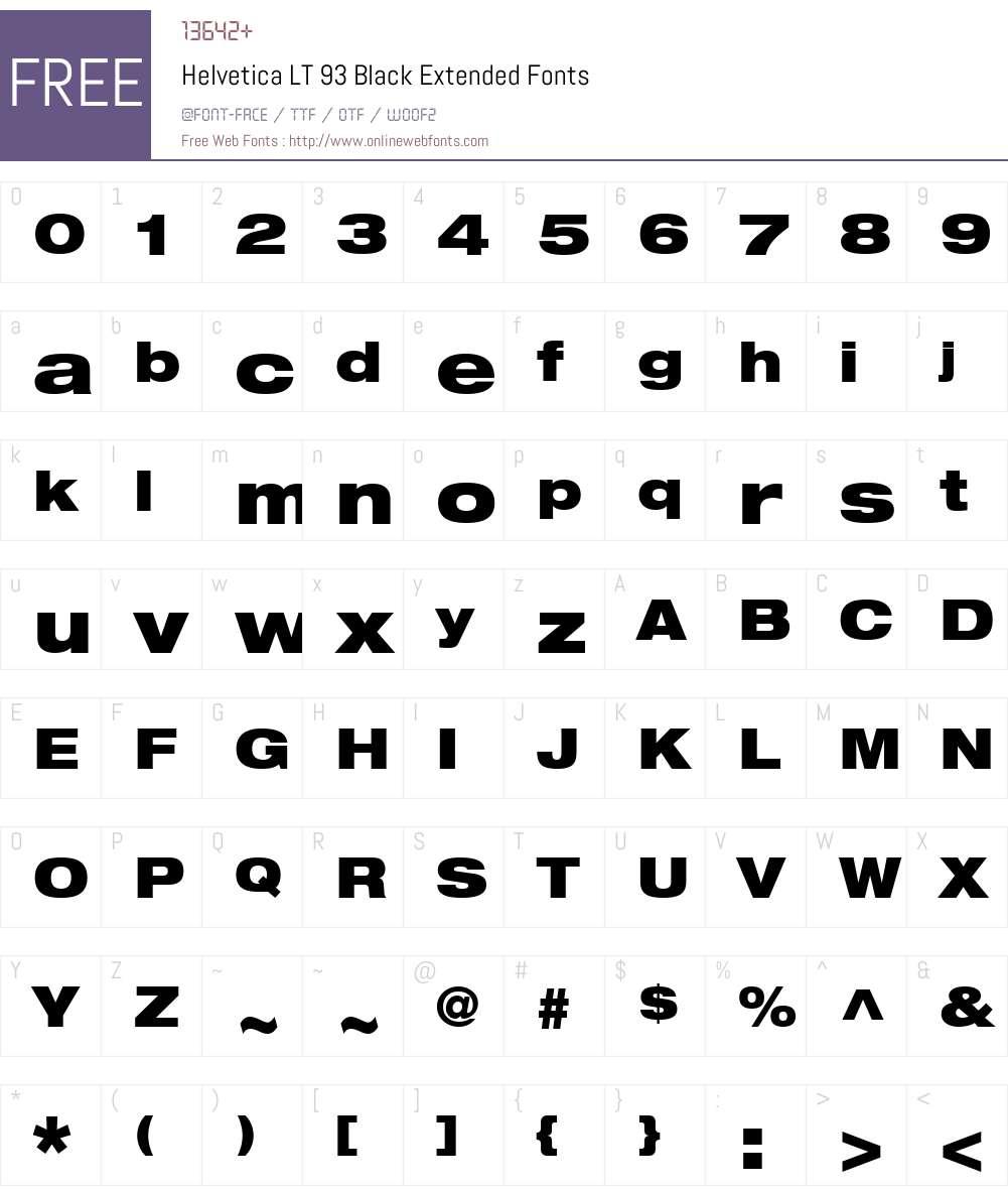 HelveticaNeue LT 93 BlackEx Font Screenshots