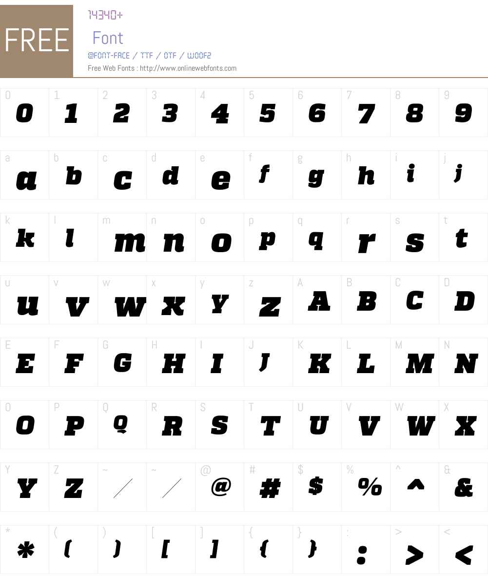 QuadonW00-HeavyItalic Font Screenshots