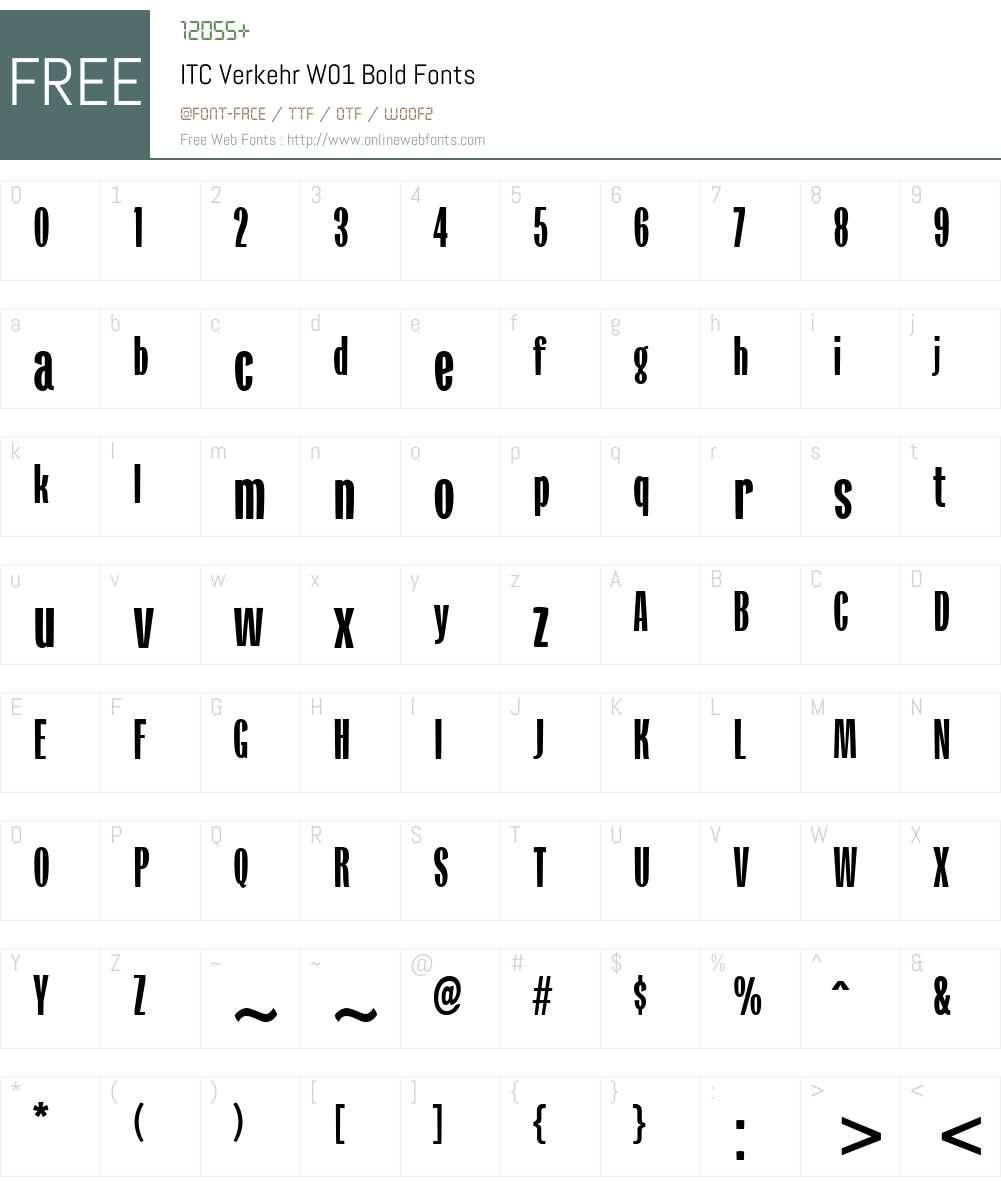 ITCVerkehrW01-Bold Font Screenshots