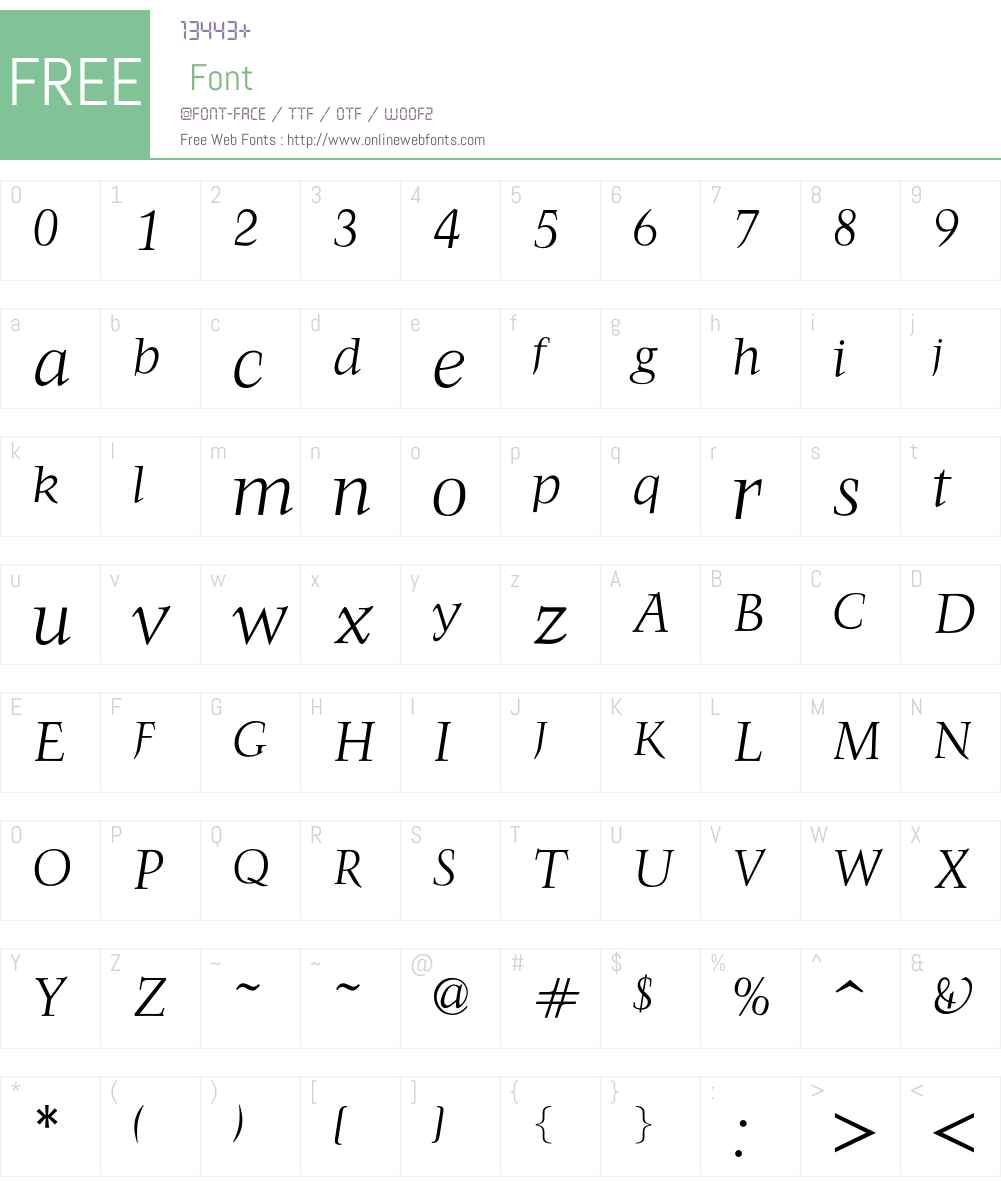FrancoisLightItalic Font Screenshots