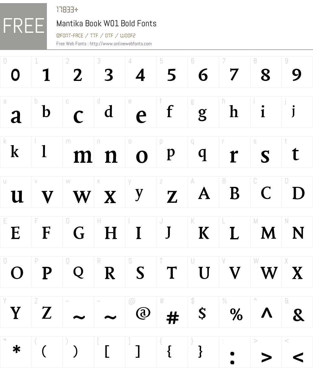 MantikaBookW01-Bold Font Screenshots