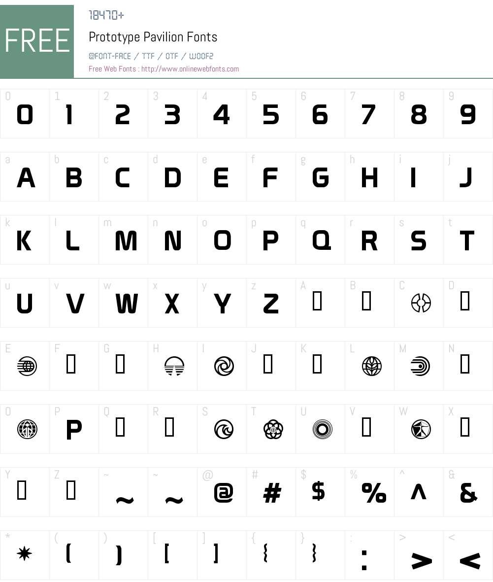 Prototype Pavilion Font Screenshots