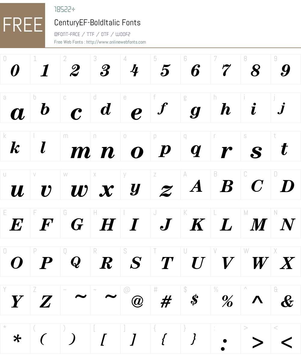 CenturyEF-BoldItalic Font Screenshots