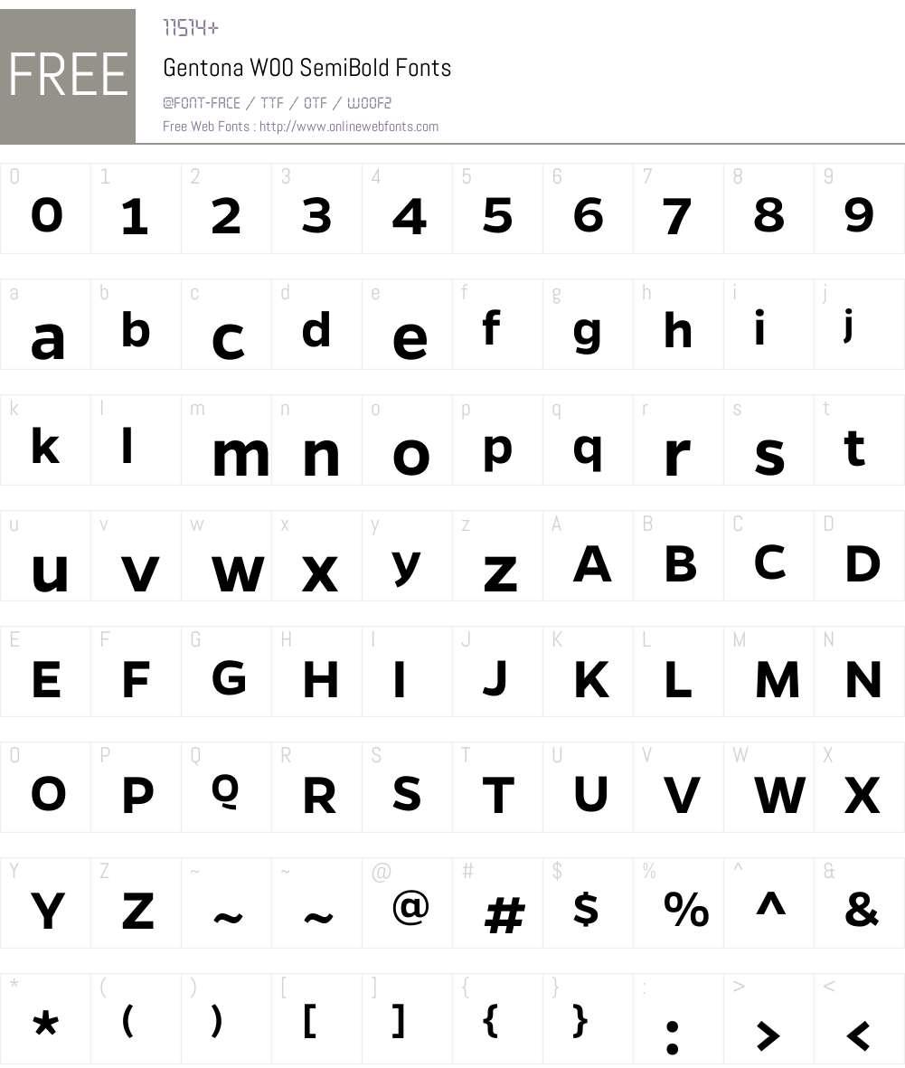 GentonaW00-SemiBold Font Screenshots