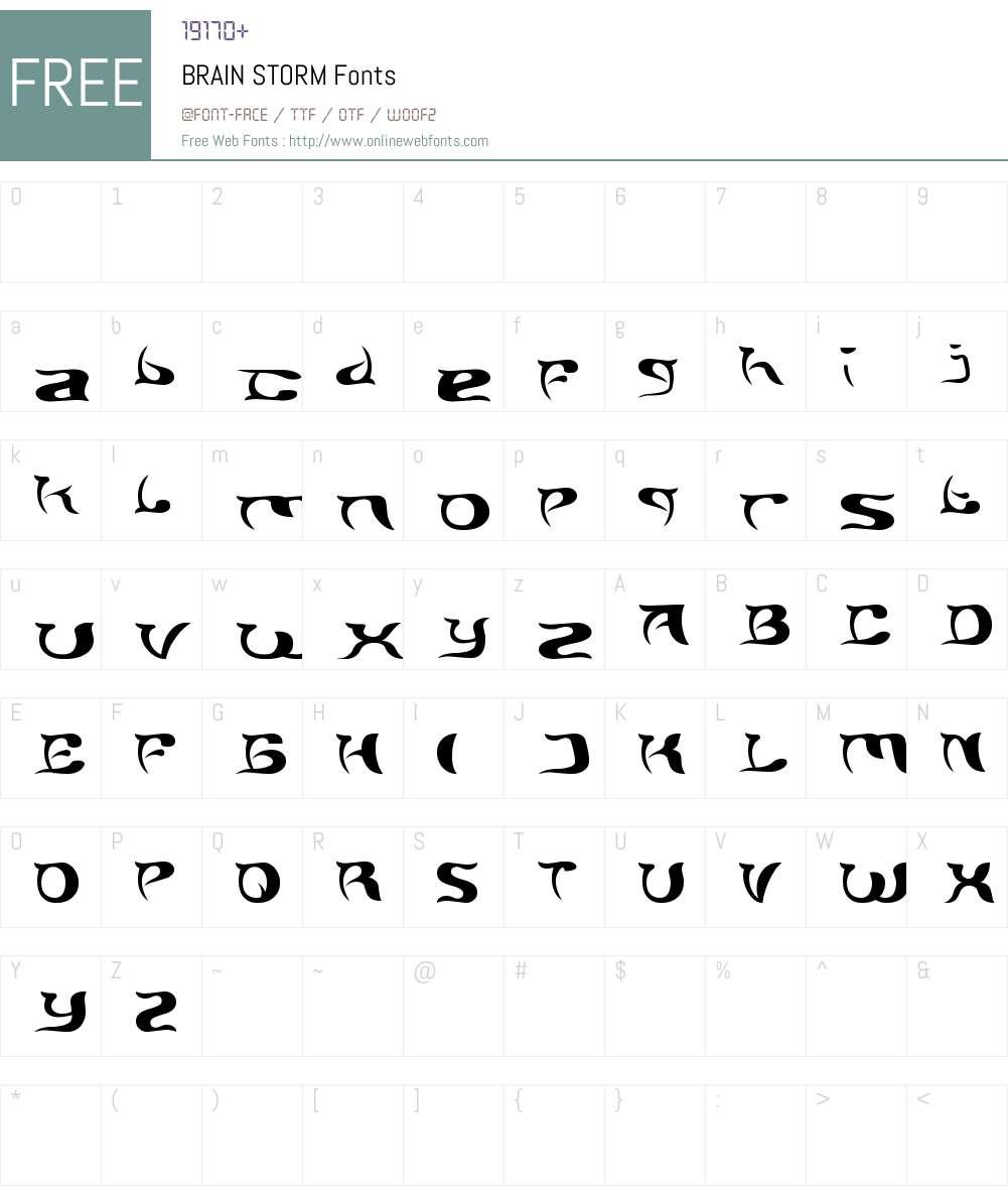 BRAIN STORM Font Screenshots