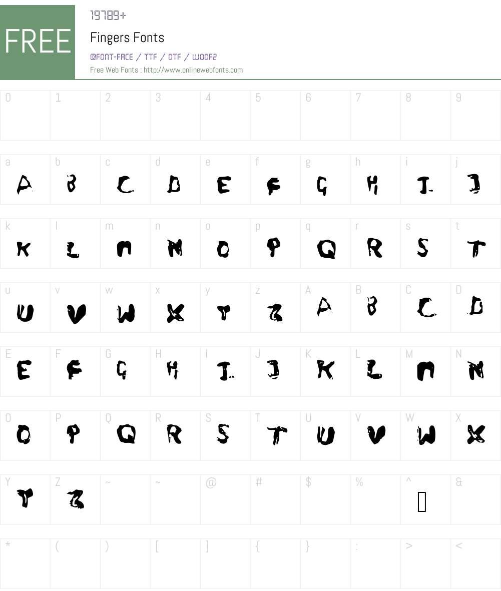 Fingers Font Screenshots