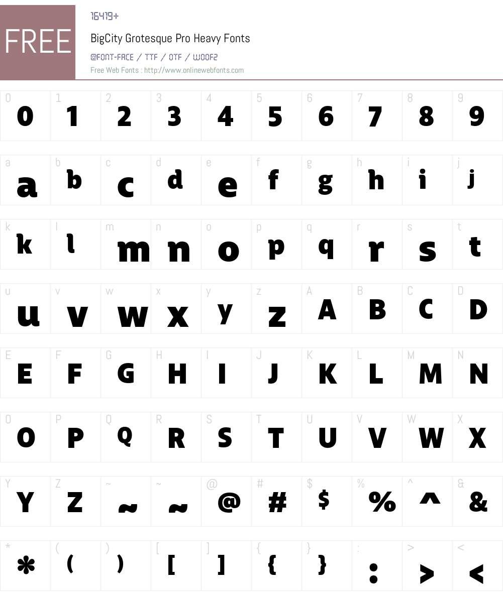 BigCityGrotesquePro-Heavy Font Screenshots