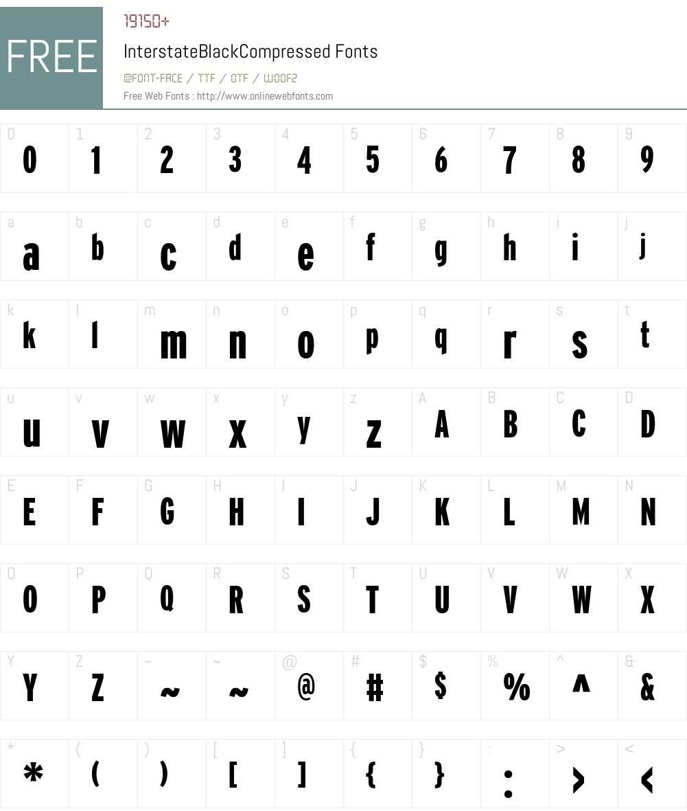 InterstateBlackCompressed Font Screenshots