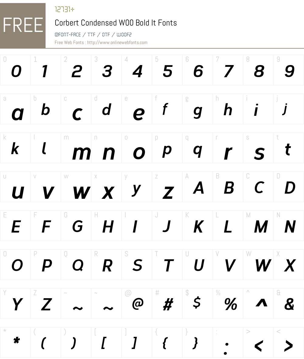 CorbertCondensedW00-BoldIt Font Screenshots