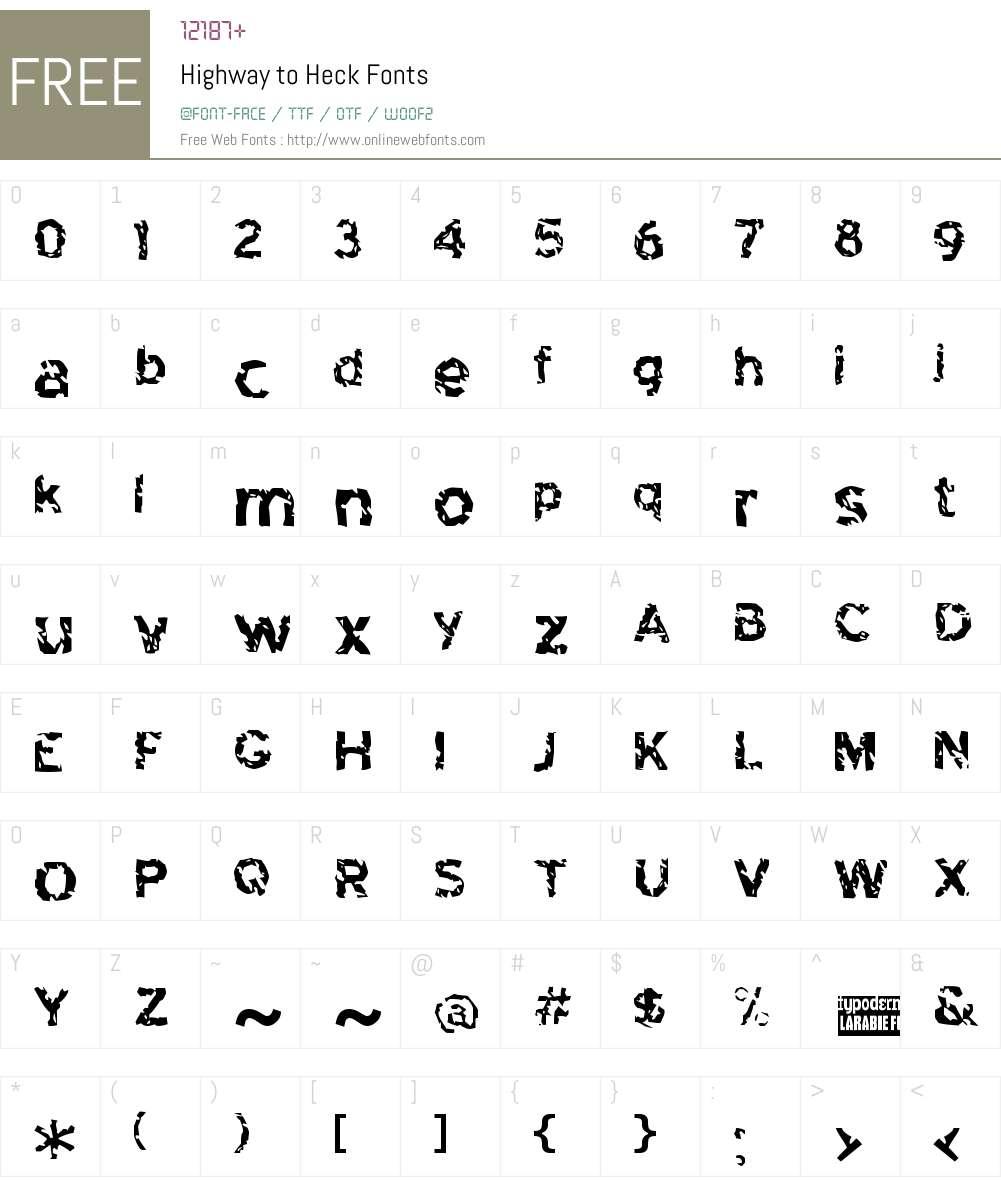 Highway to Heck Font Screenshots