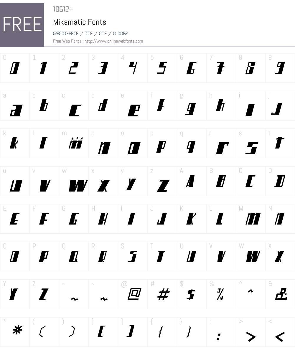 Mikamatic Font Screenshots
