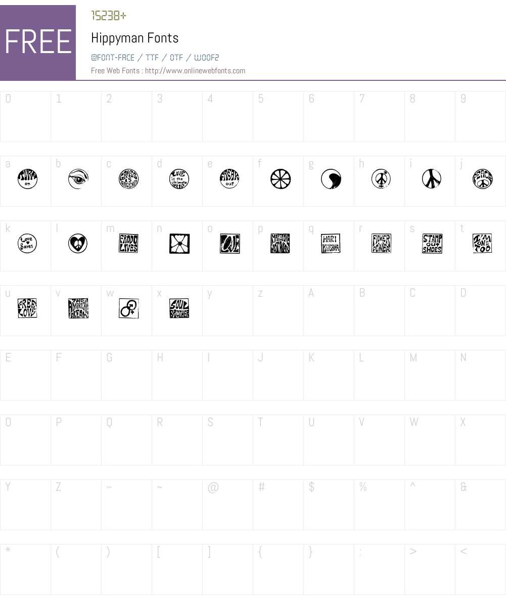 Hippyman Font Screenshots
