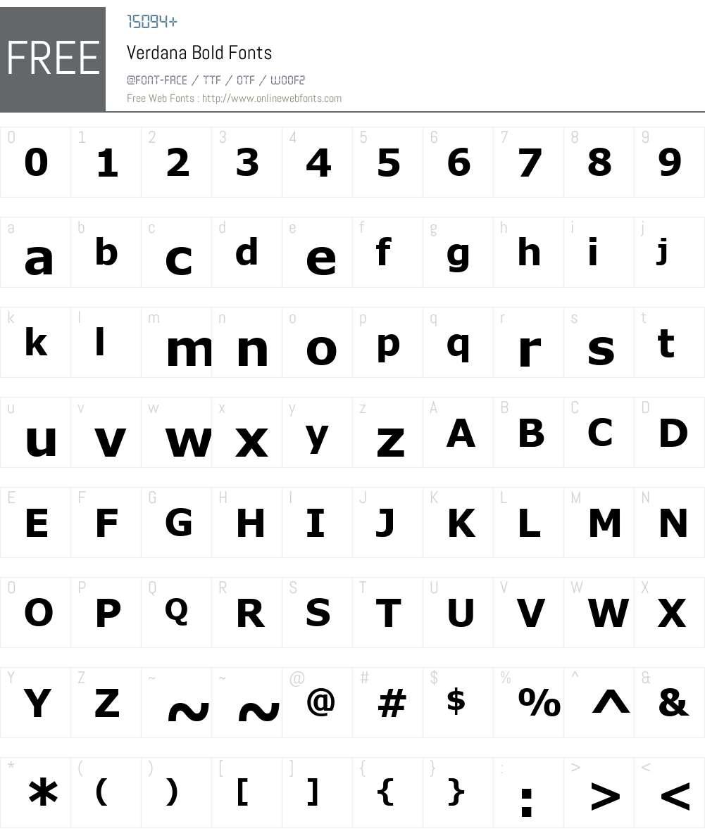 Verdana Font Screenshots